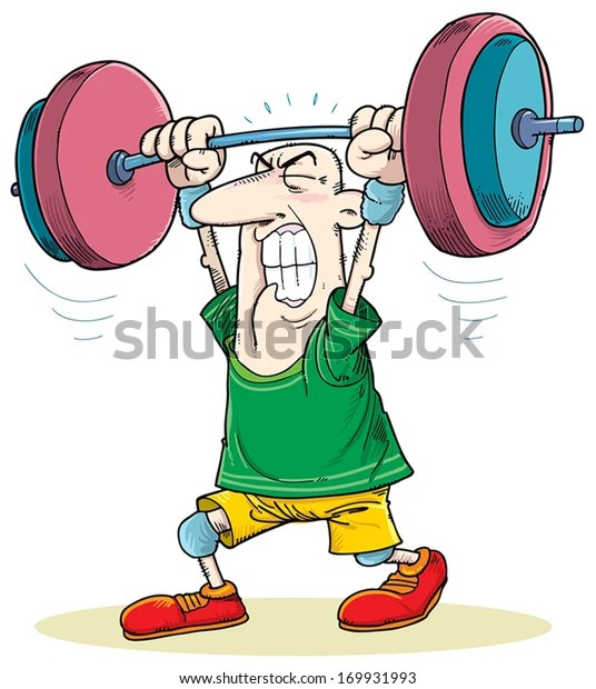 Man Struggling Lift Weights Stock Vector (Royalty Free) 169931993
