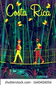 https www shutterstock com image vector man woman on suspension bridge rainforest 1643426056