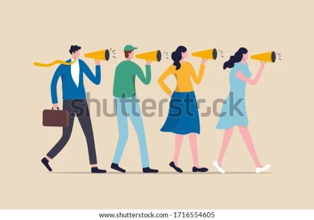 Estrategia de marketing, boca a boca la gente cuenta a sus amigos sobre el buen producto y servicio, vebally cuenta historia o concepto de comunicación, la gente usa megáfono para contar la historia a sus amigos.