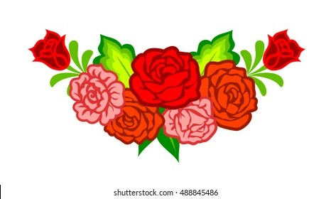 Mexican Flowers Images  Stock Photos   Vectors  10  Off    Shutterstock Mexican flowers  Floral decoration with roses isolated on white