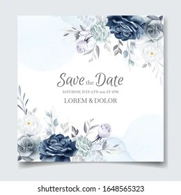 https www shutterstock com image vector navy blue floral wedding invitation card 1648565323