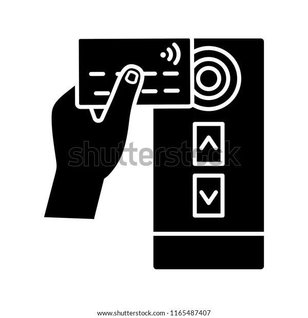 Nfc Credit Card Reader Glyph Icon เวกเตอร์สต็อก (ปลอดค่า ...