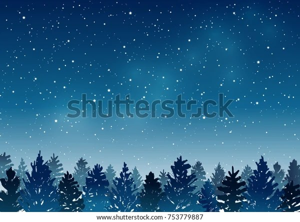 https www shutterstock com fr image vector night landscape coniferous forest on starry 753779887