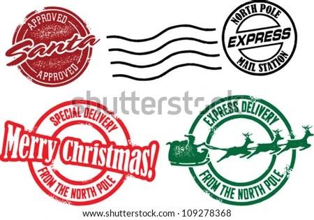 North Pole Santa Christmas Stamps Stock Vector Royalty