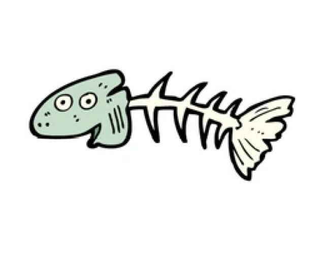 Old Fish Skeleton Cartoon