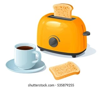Electric Toaster Images  Stock Photos   Vectors   Shutterstock Orange electric toaster with a slice of toasted bread  standing next to a  coffee cup