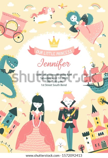 https www shutterstock com image vector princess party birthday invitation template text 1572092413