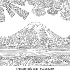 coloring pages printable mountains and trees # 25