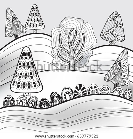 coloring pages printable mountains and trees # 13