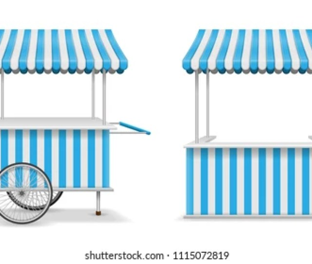 Realistic Set Of Street Food Kiosk And Cart With Wheels Mobile Blue Market Stall Template