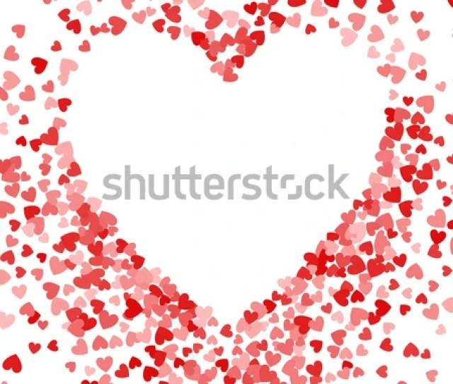 Red Frame Of Scatter Confetti In Shape Of Heart Border Design Element For Festive Banner
