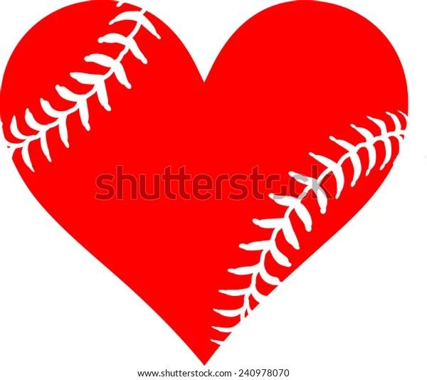 Download Red Heart Baseball Laces Love Baseball Stock Vector ...