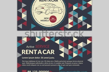 Rent Car Business Card Template Abstract Stock Vector  Royalty Free     Rent a car business card template with abstract geometry pattern triangle  backgrounds  Auto service mockup
