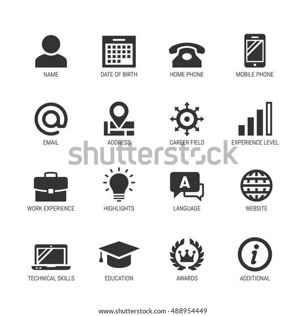 Reprendre Ou Curriculum Vitae Ensemble D Icones Image Vectorielle De Stock Libre De Droits 488954449