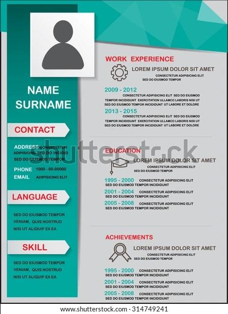 Resume Cv Template Infographics Background Element Stock