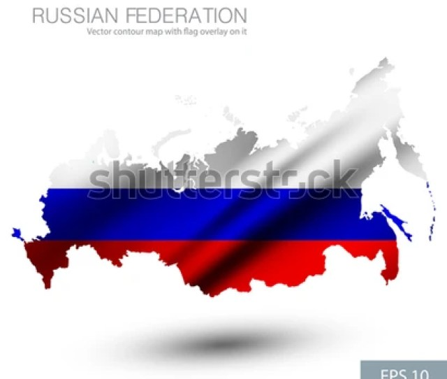 Russian Federation Vector Contour Map With Country Flag And Crimea