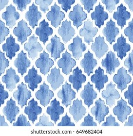 https www shutterstock com image vector seamless blue watercolor moroccan pattern background 649682404