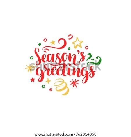 Seasons Greetings Lettering On White Background Stock