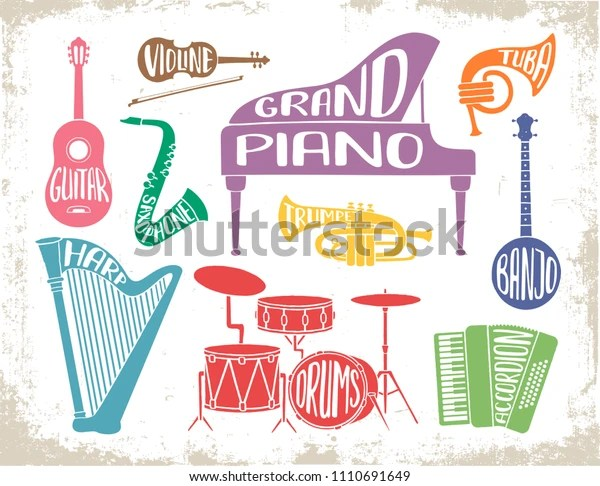 Set Musical Instruments Hand Drawn Lettering Stock Vector Royalty Free 1110691649