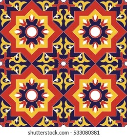 spanish tile pattern vector seamless