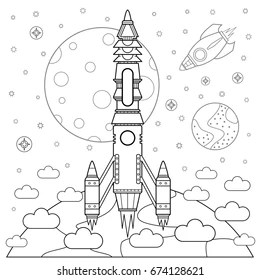 space coloring page # 7