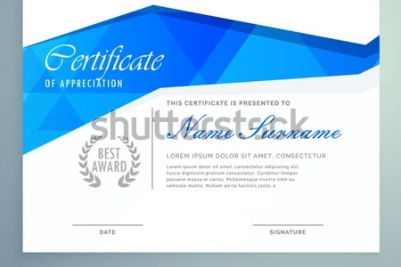 Stylish Modern Certificate Template Design Blue Stock Vector     stylish modern certificate template design with blue abstract shapes