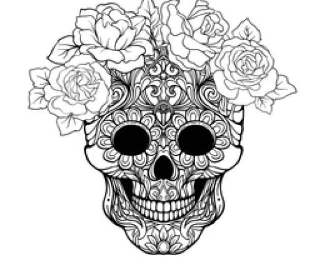 Halloween Skull Coloring Page Images Stock Photos Vectors