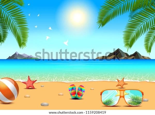 https www shutterstock com fr image vector summer sea beach island leaf landscape 1159208419