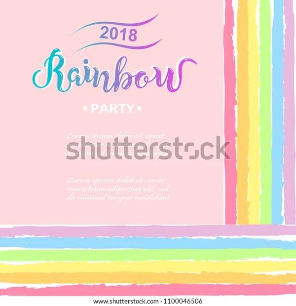Template Rainbow Party Happy Birthday Card Stock Vector