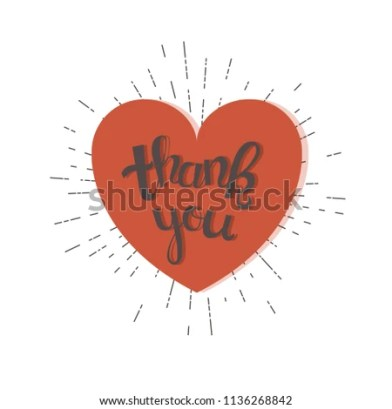 Thank you vintage style card hand drawn text vector illustration