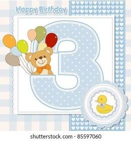 https www shutterstock com image vector third anniversary birthday card 85597060