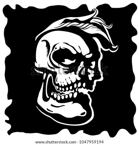 Toon Skull Black And White Vector Illustration