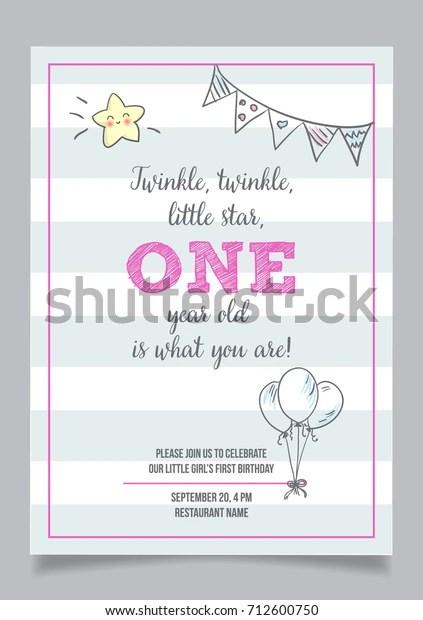 https www shutterstock com image vector twinkle little star girls first birthday 712600750