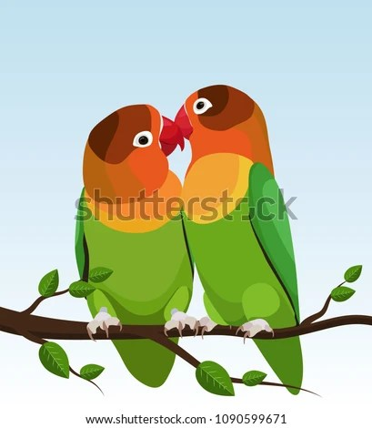 Two Parrots Parrots Are Inseparable Cute Birds On A Tree Branch Flat Design