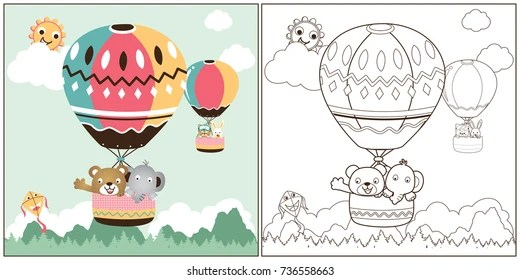 hot air balloon coloring pages # 34