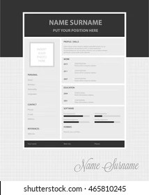 Vector Simple Resume Template Stock Vector 419724784   Shutterstock Vector simple resume template