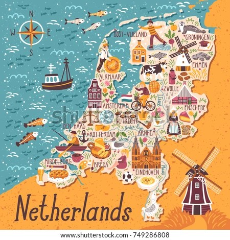 Vector Stylized Map Netherlands Travel Illustration stockvector (rechtenvrij) 749286808 - Shutterstock