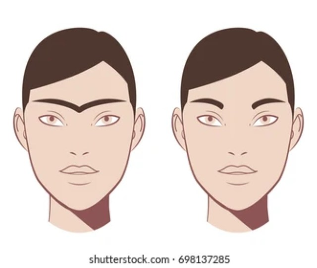 Waxing Hair On The Face Eyebrow Before And After Correction The Concept Of Depilation