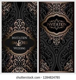 wedding invitation card black gold