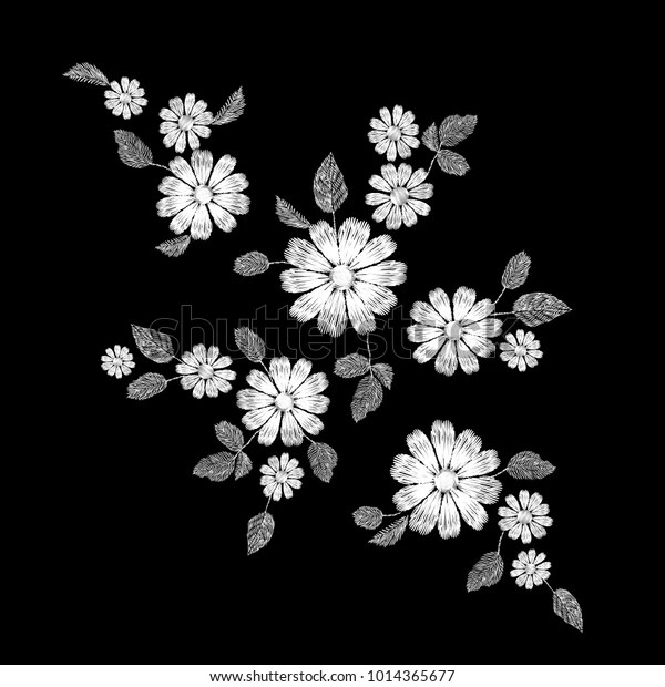 White Lace Flower Embroidery Patch Fashion Stock Vector