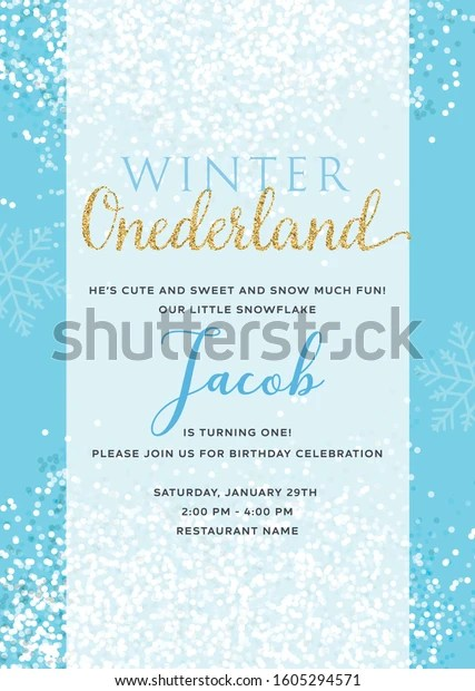 https www shutterstock com image vector winter onederland first birthday invitation boy 1605294571