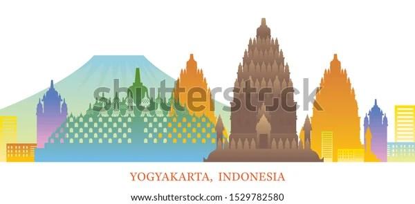 Yogyakarta Indonesia Skyline Landmarks Colorful Silhouette Stock Vector Royalty Free 1529782580