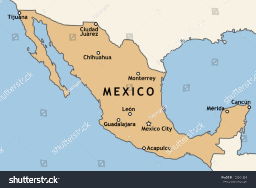 Royalty free Mexico map with major Mexican cities      105204299 Stock     Mexico map with major Mexican cities  Mexico City  Guadalajara  Ciudad  Juarez  Tijuana