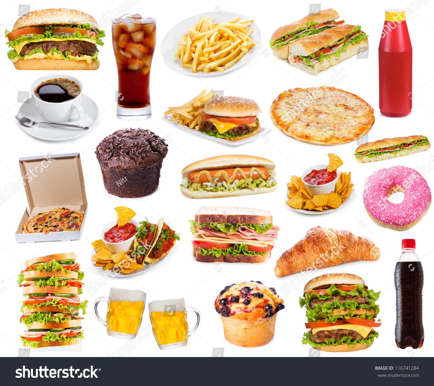 Set With Fast Food Products On White Stock Photo