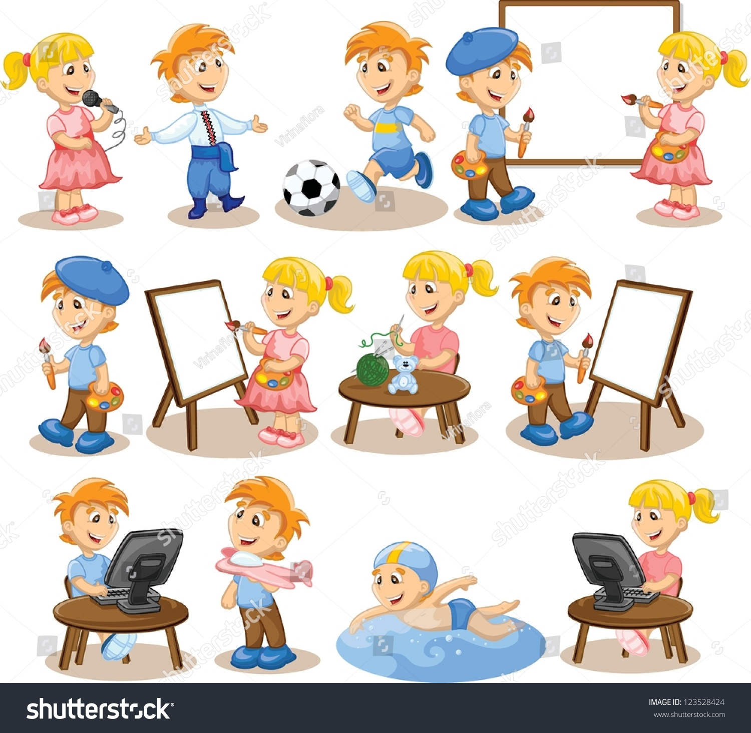Children Are Engaged In The Hobbies Stock Photo