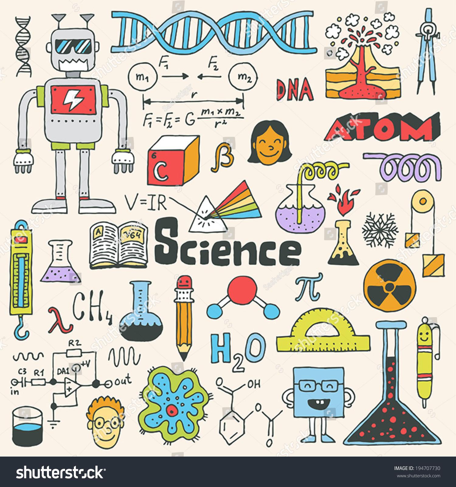School Science Doodle Set 2 Hand Drawn Stock Photo