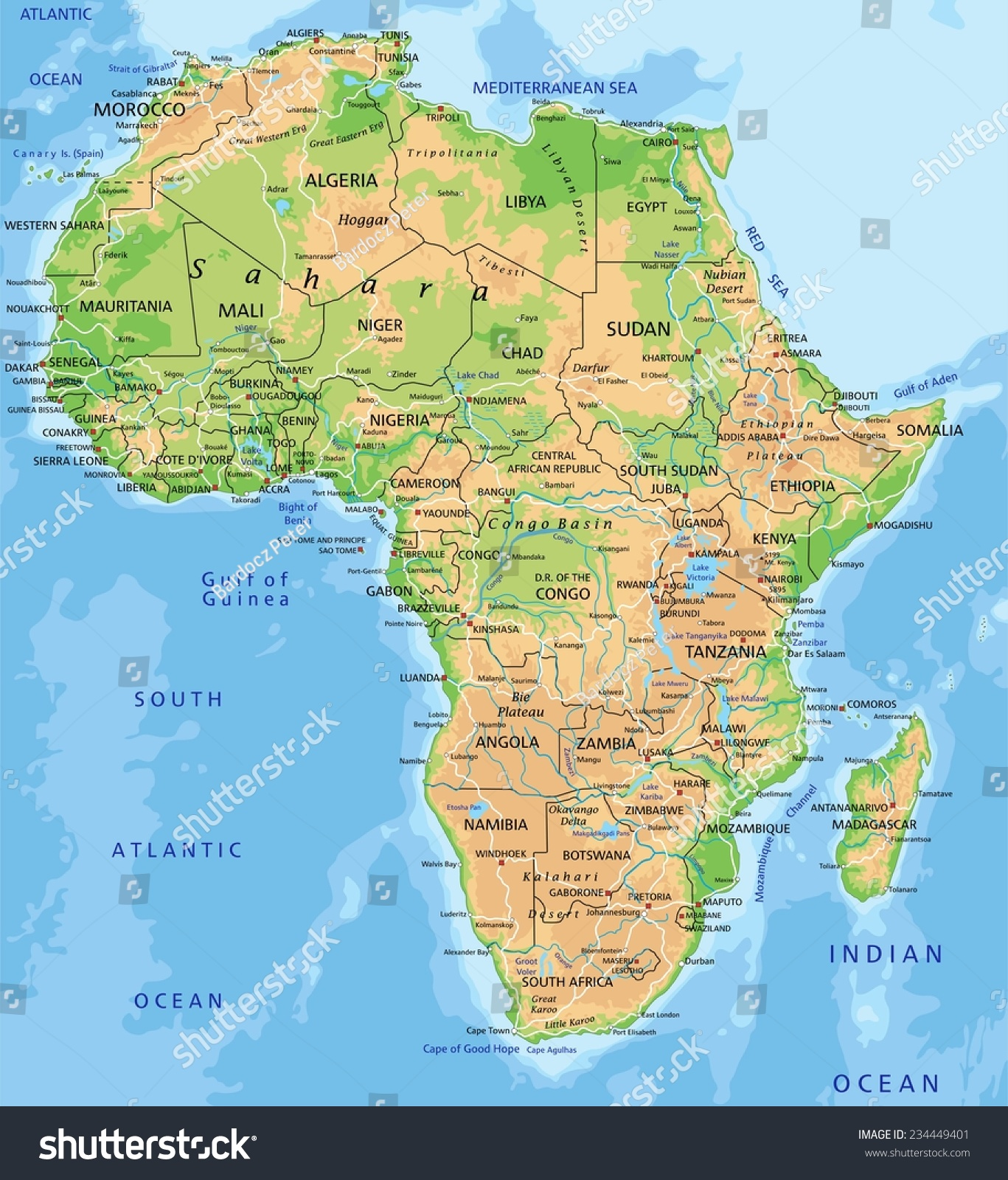 High Detailed Africa Physical Map With Stock Photo