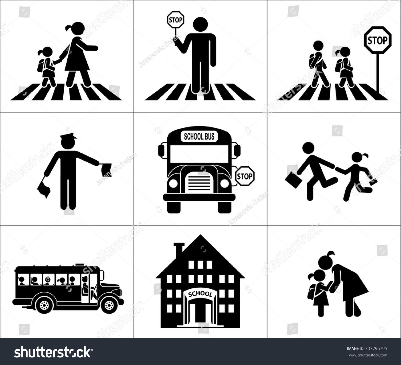 Safety Of Children In Traffic Children Stock Photo
