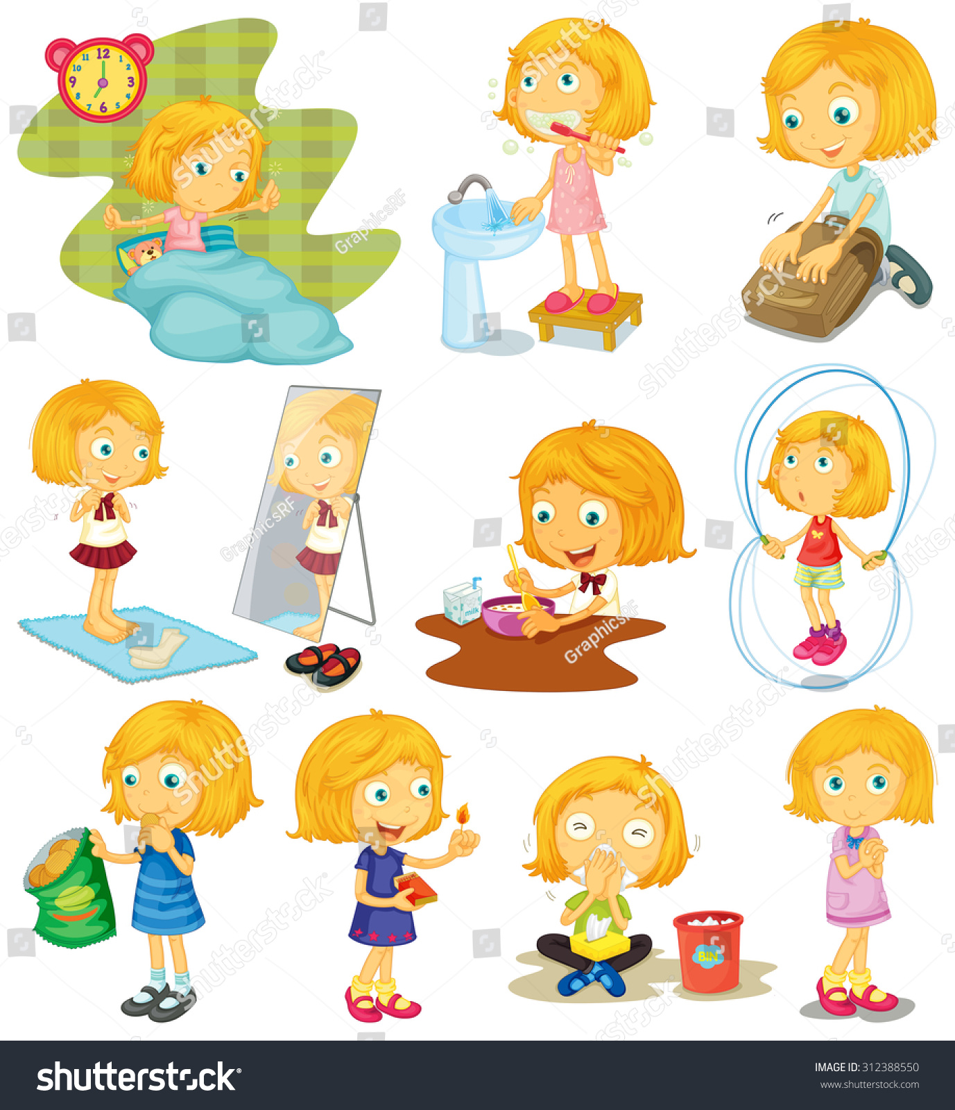 Daily Routine Of A Girl Illustration Stock Photo