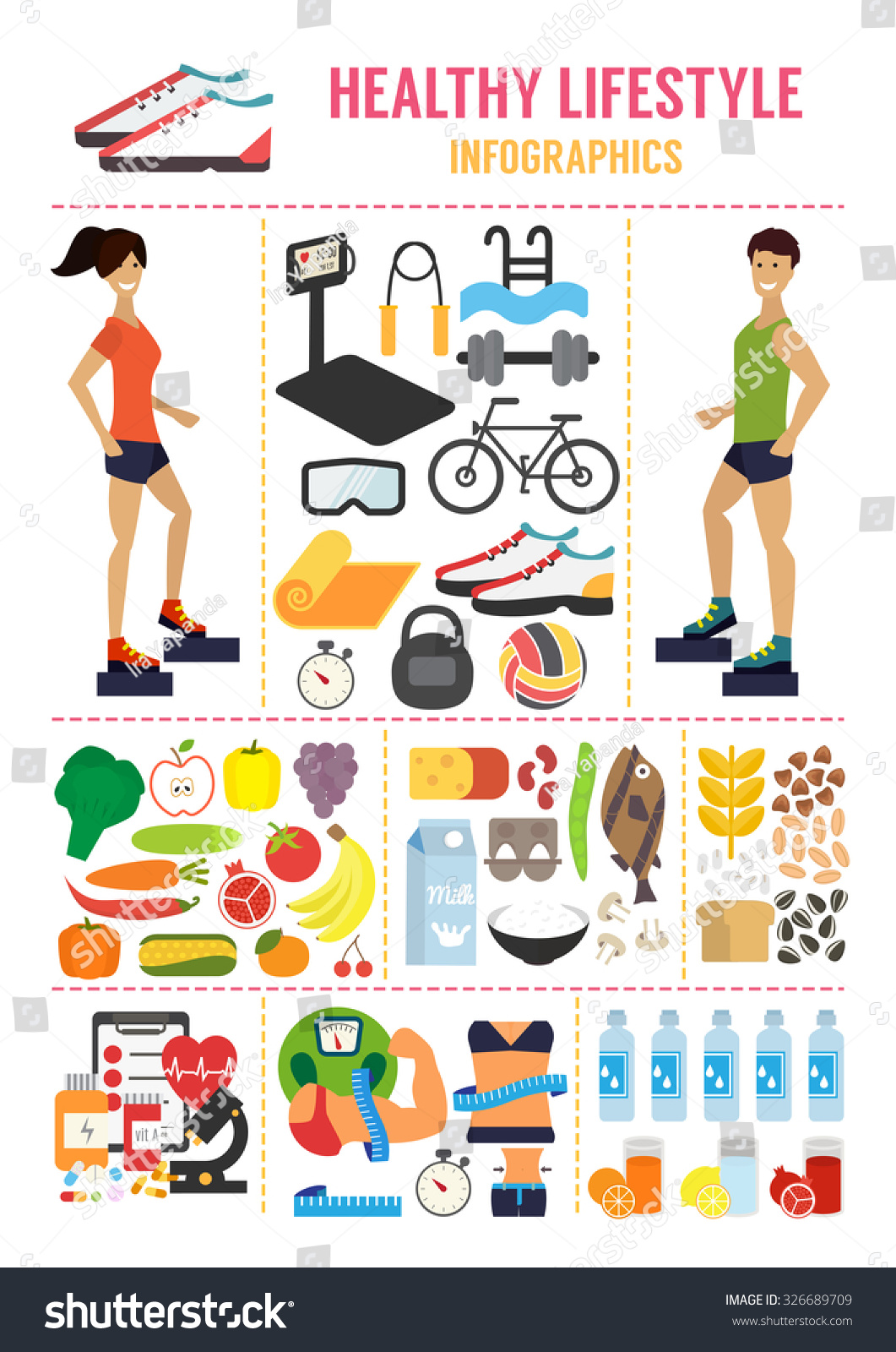 Healthy Lifestyle Infographic Fitness Stock Photo